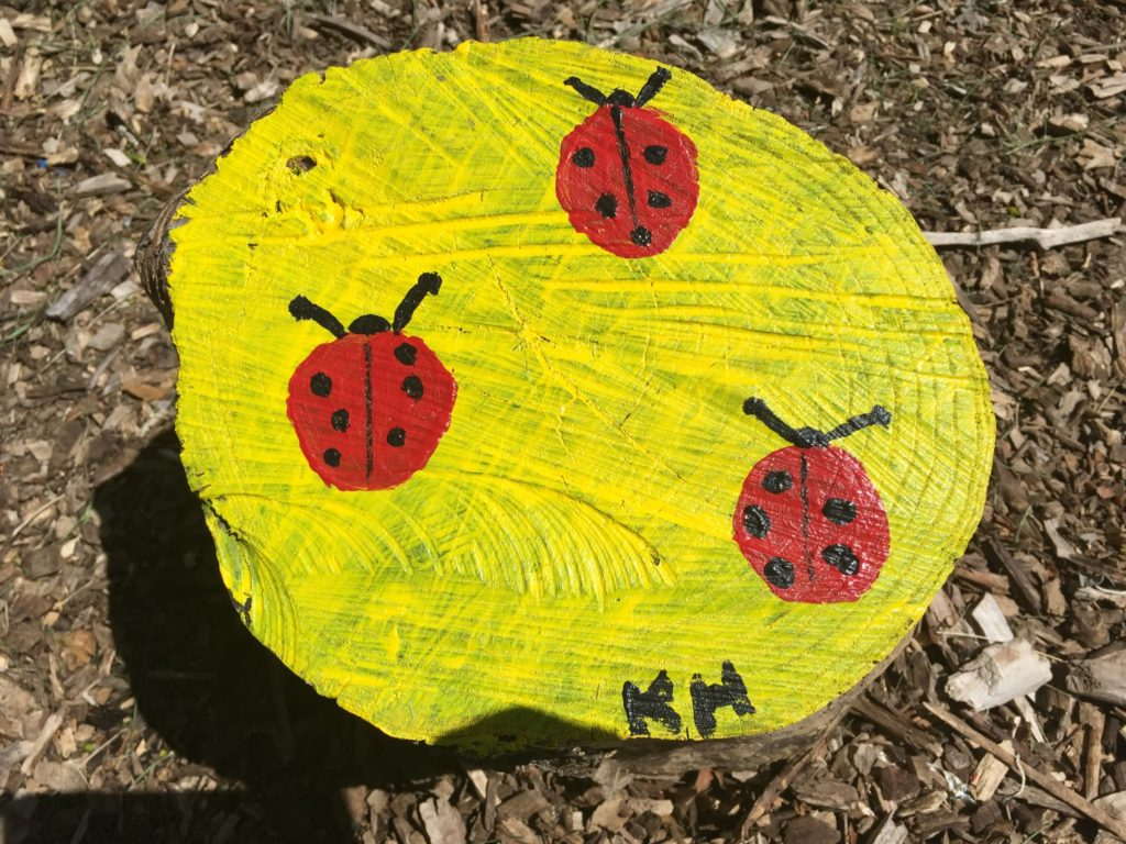 ...and sometimes it looks like lady bugs. Art teacher at Shaw has done a fabulous job with embracing the garden and incorporating it into her art curriculum.