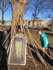 This tepee started out as a picture on the ground and then was erected up.