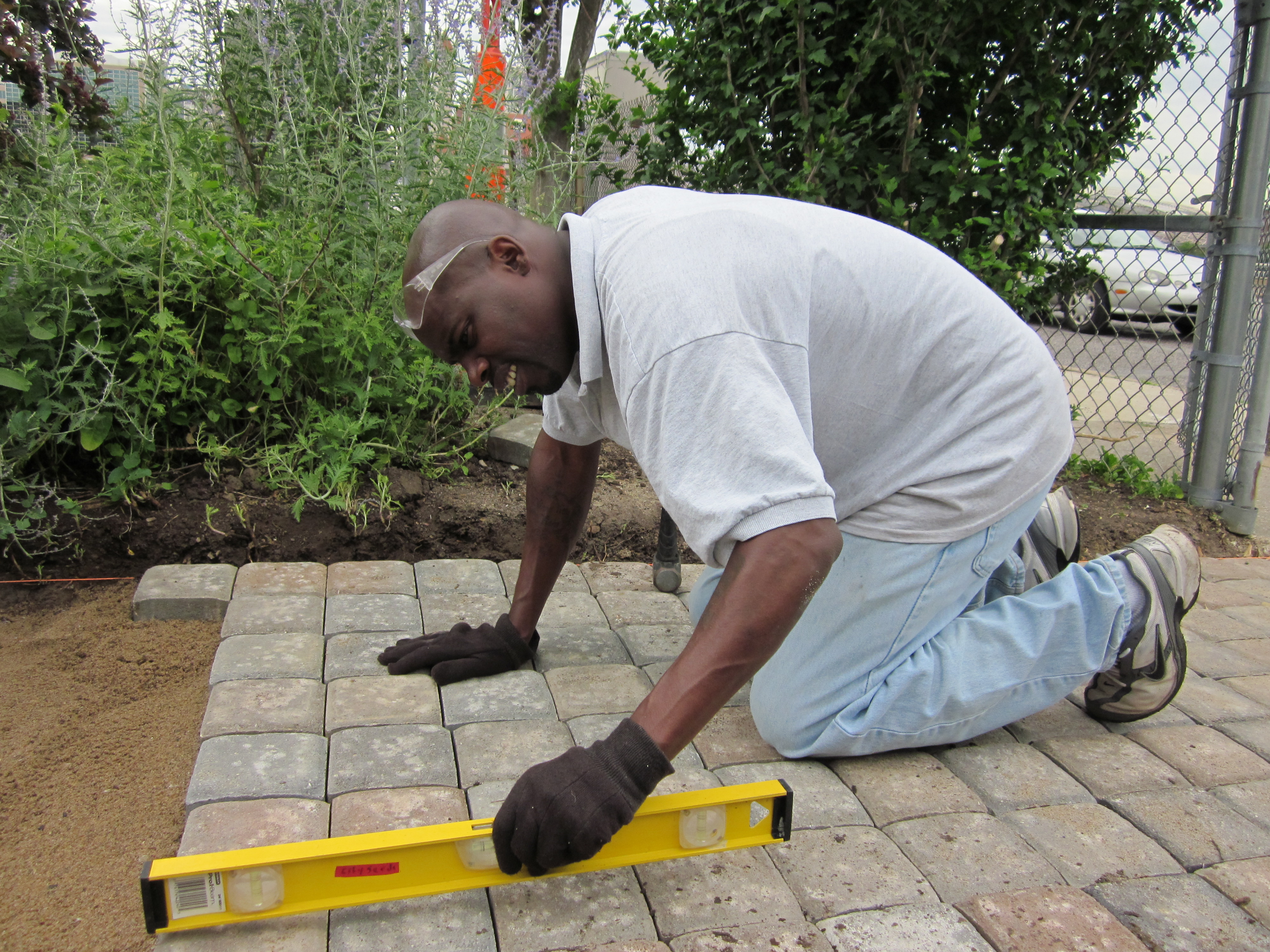 Willie McFarland hardscaping on Gateway Greening Urban Farm